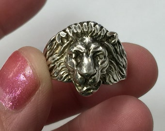 Sterling Silver Lion Head 3D Great Detail Ring Sz. 9