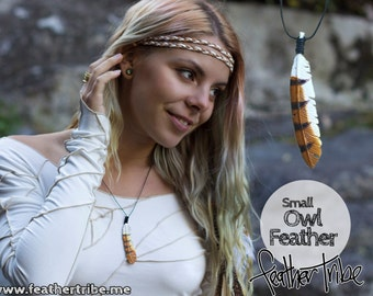 Owl Feather Necklace - Small - Spirit Bird Pendant - Hand Carved Wood - Feather Tribe