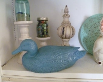 Duck Decoy Blue Painted Upcycled
