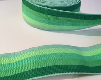 2 inch green elastic webbing, rainbow elastic webbing