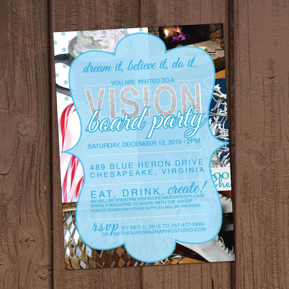 holiday christmas vision board party invitation - Vision Board Party Invitation