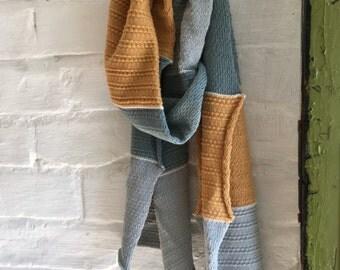 Textured mid-century modern grey and mustard cotton lightweight knitted scarf for men or women - vegan, UK
