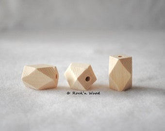 Wholesale lot of 100 beads - Large Oblong Faceted Geometric Wood Beads 14 x 22 mm - DIY, Jewelry Supply, Wood Crafts
