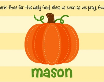 Personalized Placemat - Kids Halloween Placemat - Fall Placemat - Pumpkin Stripes Placemat - Fall Harvest Placemat - Thanksgiving Placemat