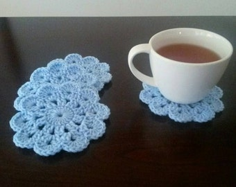 Crochet Coaster Set Of 4 - Light Blue