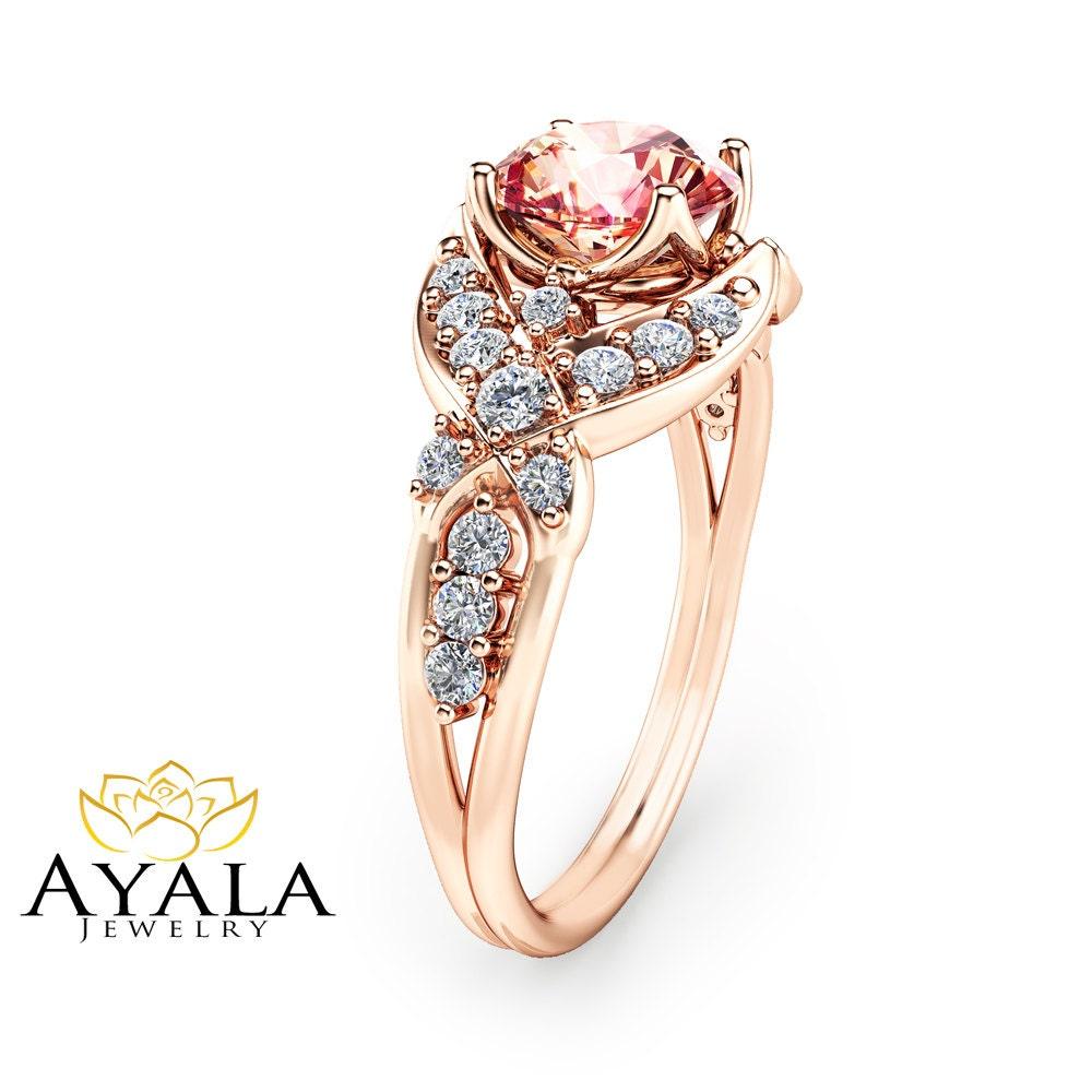 14k rose gold morganite engagement ring peach pink morganite. Black Bedroom Furniture Sets. Home Design Ideas