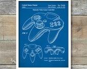 Patent Print, Patent Poster, Nintendo 64 Video Game Controller Patent, Nintendo Controller Art, Nintendo Poster, Video Game Art, P220