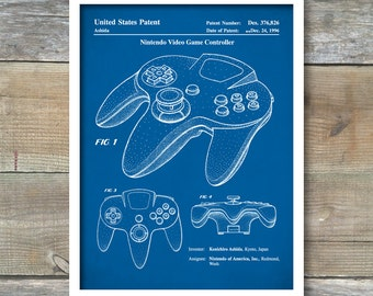 Patent Print, Patent Poster, Nintendo 64 Video Game Controller Patent, Nintendo Controller Art, Nintendo Poster, Video Game Art, P220
