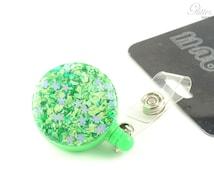 Spring Badge Reel - Garden Badge Reel - Grass ID Reel - Green Thumb Badge Reel - Flower Badge Holder - Glitter ID Holder - Nurse Gift - Fun