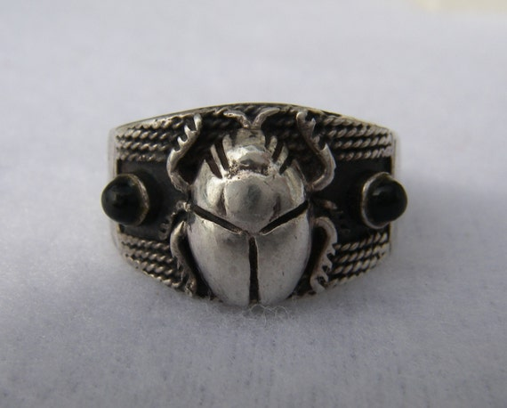 scarab ring vintage 925 silver and onyx scarab ring