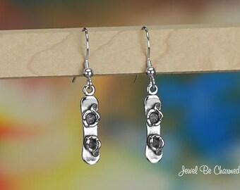 Sterling Silver Snowboard Earrings Pierced Fishhook Earwires Solid 925