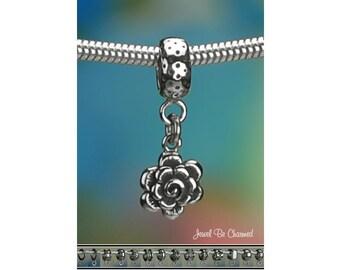 Tiny Sterling Silver Rose or Chrysanthemum Charm or European Bracelet