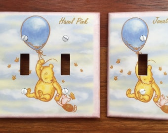 Winnie the Pooh classic light switch Piglet balloon baby nursery Personalized // SAME DAY SHIPPING**