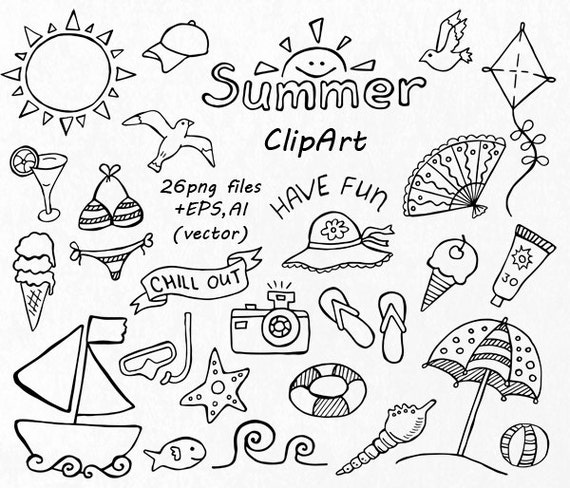Doodle Summer Clipart Hand Drawn on Fruit Coloring Pages