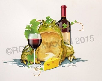 Wine Attitude Frog watercolor print, Robin Maxon, funny frog, frog character, attitude frog, collection, green frog, greeting cards