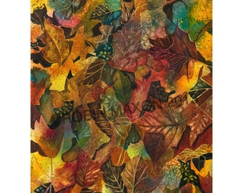 Autumn Leaves Collage art watercolor painting, giclee' print by Robin Maxon, fall colors, autumn colors, harvest time, greeting cards