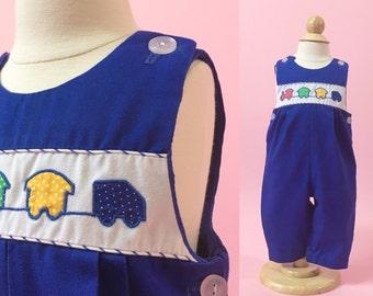 Vintage Blue Choo Choo Appliqued Overalls (Size 3/6 Months)