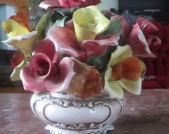 A Stunning Vintage Porcelain Centerpiece Flower Basket Made In Italy