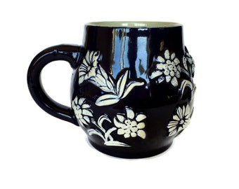 West German Pottery Stein, German Tankard, Dark Blue, White Flowers, 1427
