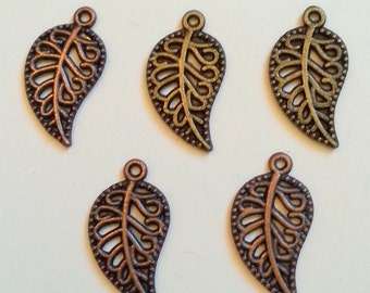 Assorted Finish Leaf Charms 5 Pieces