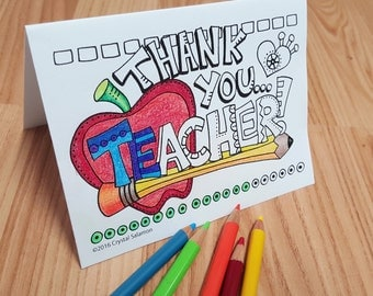 DOWNLOAD - Teacher Thank You Card - Colouring Card
