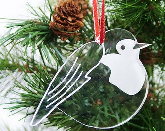 Christmas Robin Tree Decorations - Round Robin - Christmas decor - Laser cut , Engraved and Hand finished in Clear acrylic