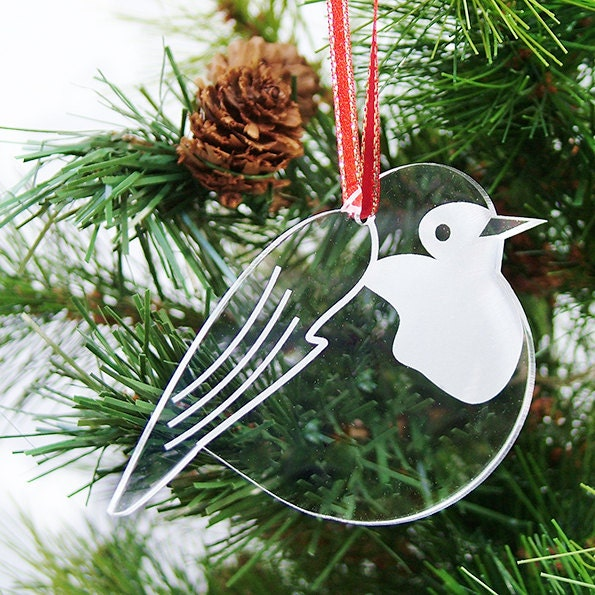 Christmas Robin Tree Ornament Decorations - Round Robin - Christmas decor - Laser cut