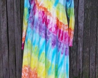Tie dye hippie nightgown Organic Cotton - Size L