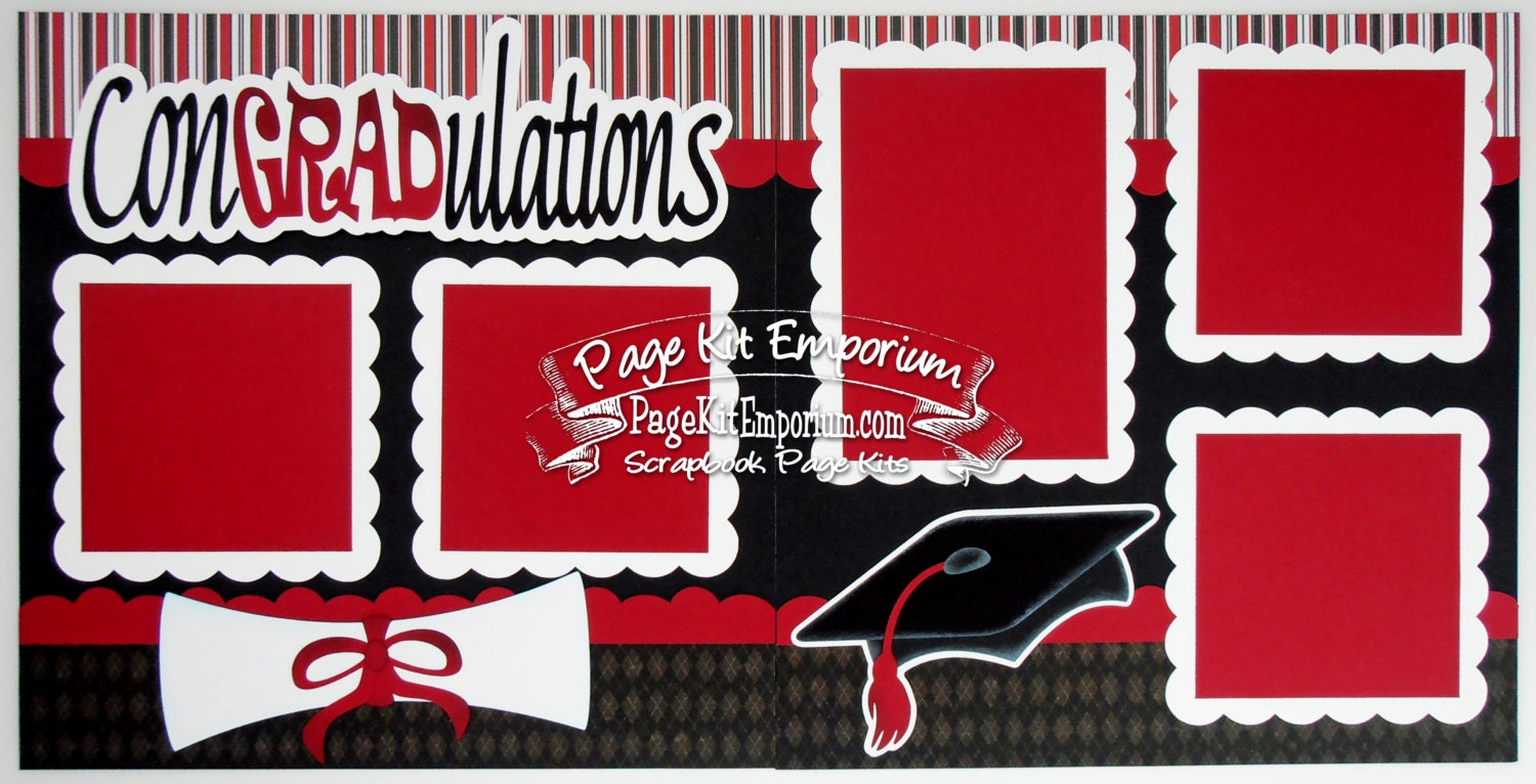 Scrapbook Page Kit Graduation Red School Boy By