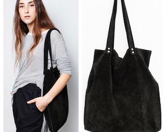 Black suede leather tote bag,Large black bag,black shoulder suede tote bag