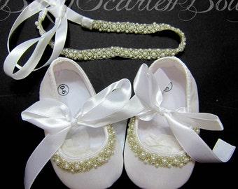 White Satin Baby,Toddler Girl Shoes,Christening,Wedding Shoes and Headband Set