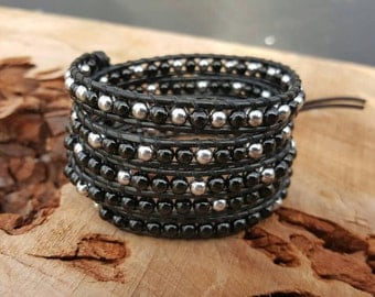 Chan luu Style Wrap Bracelet With Black Onyx And Silver Beads On Black Leather