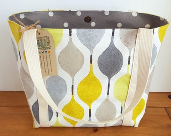 Fabric tote bag for women, Knitting project bag, Stylish quality purse, Canvas handbag, Gift idea, Canvas shoulder bag, Grey and Lime Green