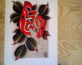 9x12 Rose Shunga Print