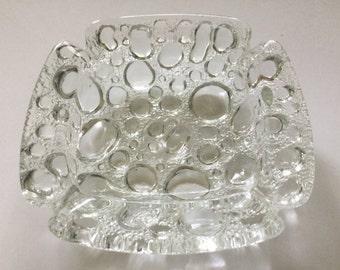 Vintage mod clear pebble bubble art glass ashtray