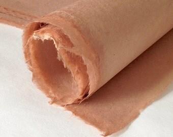Half sheets Peachy pink De-kar paper, 22 x 16 inch 56 x 40cm handmade paper from Bhutan, 60 gsm printmaking paper