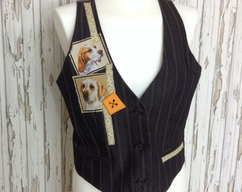 Unique Ladies waistcoat for the dog lover!  / vest / unusual / upcycled / refashioned / embroidered / ooak