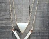 Silver Geometric Double Layer Necklace Bib Statement
