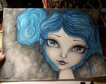 Blue hair girl original Painting by Megan