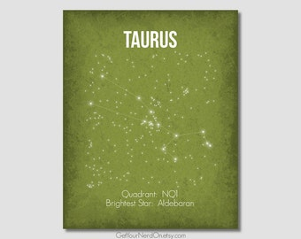 Taurus Constellation, Astronomy Decor, Space Nursery Decor, Science Art Poster