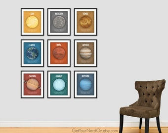Set of 9, Planet Posters, Astronomy Print, Science Nursery Art, Outer Space Decor
