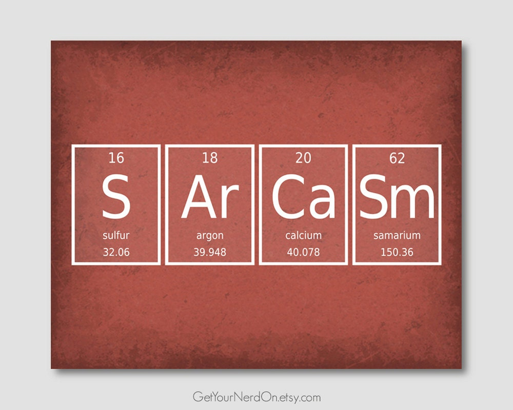 Periodic element word poster sarcasm wall art print zoom gamestrikefo Images