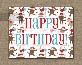 Happy Birthday Sign - Sock Monkey Printable Birthday Decor - Monkey Party Decorations - Instant Download Birthday Party Print SMK
