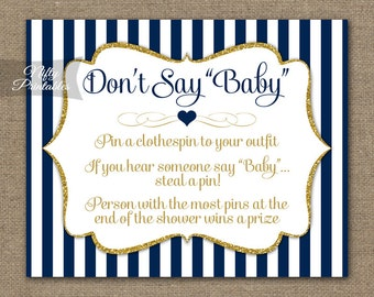 Don't Say Baby Shower Game - Navy Blue & Gold Glitter - Printable Baby Shower Games - Instant Download - Blue Baby Boy Shower Games - NGG