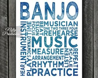 Banjo Art - INSTANT DOWNLOAD Banjo Print - Banjo Player - Banjo Poster - Banjo Gifts - Music Gifts - Banjo Wall Art - Blue Banjo Print