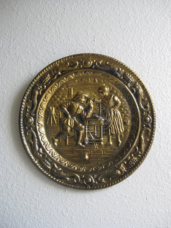 Brass Kitchen Wall Decor : Brass wall plate old english plaque cottage