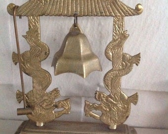 Vintage Brass Asian Bell....Glo Mar Artworks....shaped like a Pagoda....with small hammer