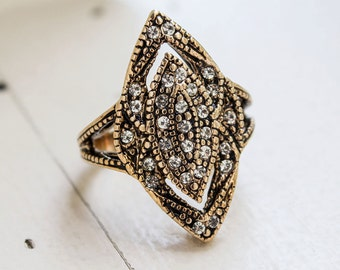 Vintage Antique Gold Tone Edwardian Ring with Clear Austrian Crystals  Made in USA #R1408