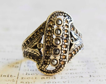 Vintage Genuine Marcasite Ring Antiqued 18k Yellow Gold Electroplated Filigree Setting Made in USA #R1367