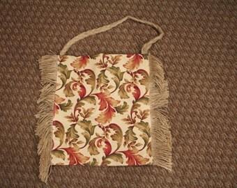 Handmade Fabric and Burlap Shoulder Bag with Fringe
